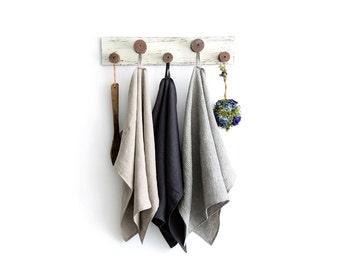 Pure linen kitchen towels set of 3 - Stonewashed linen dish towels - Rustic linen tea towels - Eco linen towel