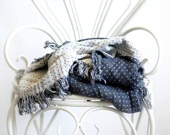 Fringe Bed Throw - Pure Linen Blanket - Dark Grey Summer Duvet - Beach Blanket