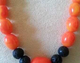 Essential oil diffuser necklace, Orange Swirl