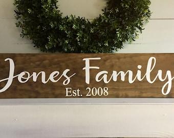 Last name sign, last name established date, family last name sign, established wood sign, rustic name sign, wooden sign, rustic family sign