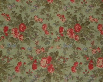 """Moda Fabric ~ Vienna Nights by 3 Sisters ~  Red Roses and Rose Buds on Mint Green Background ~ 1 1/2 """" - 4""""  Bouquets"""