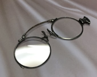 Vintage Art Deco 14K White Gold Spring and Sterling Silver Pince Nez Glasses, Antique Spectacles, Antique Eye Glasses
