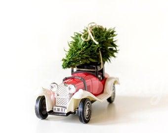 Vintage Car Christmas Tree Ornament Front Corner Mock up Styled Stock Photography Retro Christmas Photo Design Xmas Tree  Image