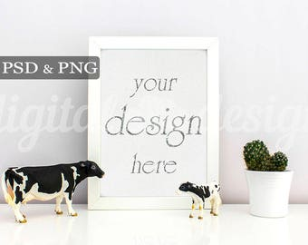 Nursery Frame Styled Stock Photography Baby Room Cow Vertical Mockup Download Nursery Frame Empty Art Frame Product Digital Background Photo