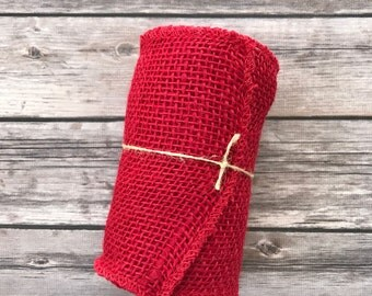 Red Burlap Ribbon Mesh Jute 15 feet 5 yards 5.5 inches Christmas Holiday Valentine Wreath