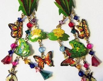 Outdoor Earring,Garden Earring,Nature Earring,Flower Garden Earring,Charm Earring,Butterfly Earring,Dangle Garden Earring,Dangle Nature