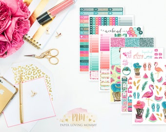 Tropical Paradise Weekly Kit   Planner Stickers designed for use with the Erin Condren Life Planner
