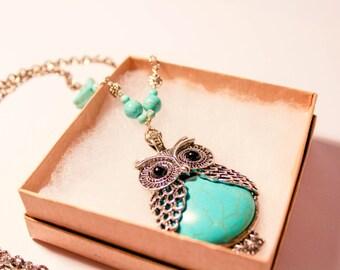 Turquoise Owl Necklace, Owl Pendant, Owl Jewelry, Turquoise, Turquoise Beads, Silver Necklace, Silver Owl Necklace, Silver Owl, Silver, Owl