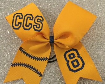 One color and number softball bow- CUSTOMIZABLE