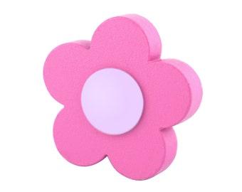 Nursery dresser knobs and pulls, Decorative door knobs, Wooden drawer pulls, Pink flower wardrobe handles, Kids drawer knobs, Dresser decor