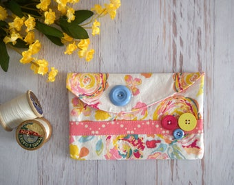 Spring Floral Small Pouch. Bright Floral Print Pencil Bag with Button Close. Pint, Yellow and Blue Accessory Pouch with Pink Lining