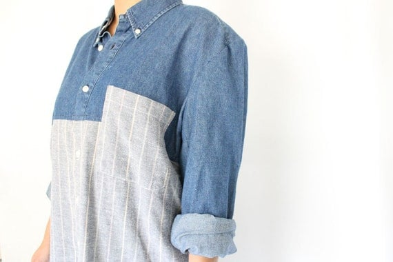 Refashioned Color Block Shirt Dress Button Down Eco Conscious Fashion Under 100 Blue and Grey Shirtdress Minimalist Style Long Sleeve Dress