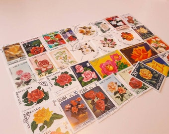 30 Roses. Postage Stamps with Roses. Worldwide