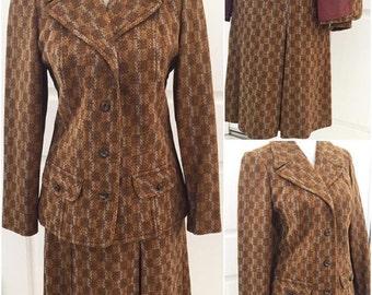Vintage 1960 Tweed Set Blazer and Skirt   Medium