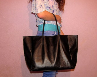 Black leather tote bag Shopping bag Large shopper Laptop bag Women gift Handmade Handbag Valentines gift Gift for her
