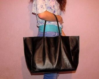 Black leather tote bag Shopping bag Large shopper Laptop bag Women gift Handmade Handbag Valentines gift Gift for her