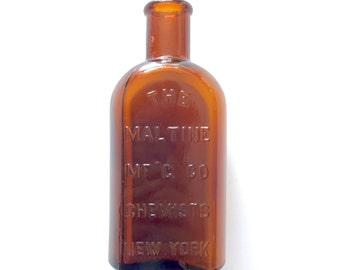 Antique 19th Century Brown Glass Chemist / Apothecary Bottle from The Maltine Manufacturing Company in New York