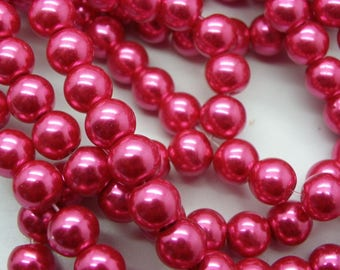 100 Pink Pearl glass beads 8 mm