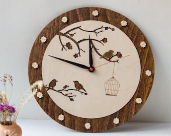 Spring trend Birds clock Mother's day gift Bird Wood Wall Clock  Cage with birds on tree