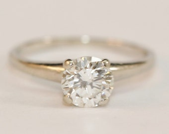 Vintage Round Brilliant Cut Near White Diamond Solitare 0.85Ct in 14K White Gold Engagement Ring Size 5