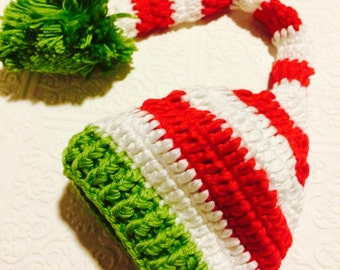 Baby hat, Christmas baby hat, crochet baby hat, red, green and white hat,  baby knit hat, slouch hat, winter baby hat, crochet girl hat