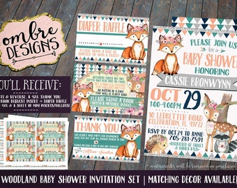 Girl Woodland Baby Shower Invitation, Invitation Set, Invitation Insert, Diaper Raffle, Book Request, Thank You Card, Woodland Baby, Floral