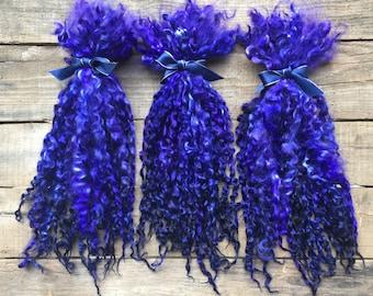 "11-12 inch Teeswater Locks, Doll Hair, Spinning Locks, Weaving, Felting, Fringe, Crafts, Hand Dyed, ""Deep Purple"" 1 ounce"