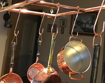 Copper and Bronze Hanging Pot Rack