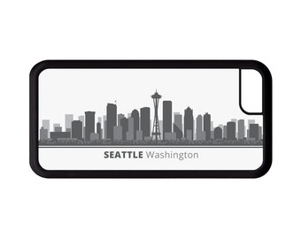 Seattle Washington Skyline Personalized Phone Case - iPhone 7, 6, 6s Plus, 5c, 5 5s SE, Galaxy S8 S8 Plus S7 S6 Edge S5, rubber cover, WA