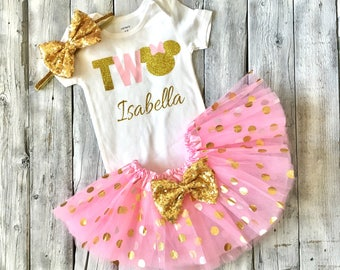 pink and gold minnie mouse 2nd birthday outfit, second birthday pink and gold minnie outfit, minnie mouse second birthday, pink and gold