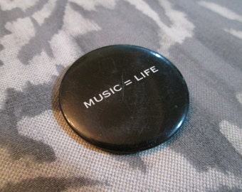 "Vintage Music Is Life Black Pinback Button for Music Lovers - ""Music = Life"""