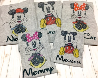 SUMMER SALE Custom Minnie scribble shirt, Mickey sketch, family Disney shirt, disney family shirts, personalized, Mickey Mouse scribble, mic
