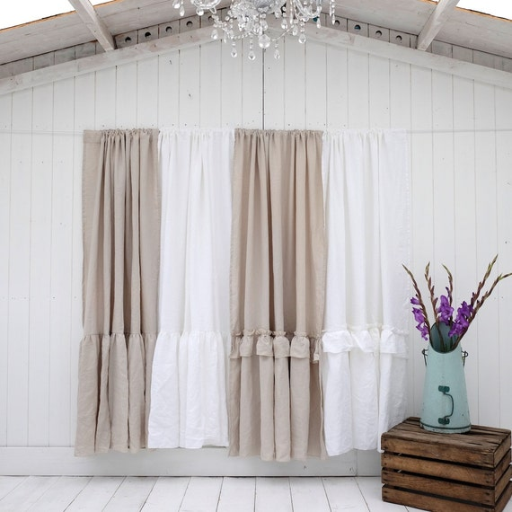 Shower Curtain Shabby Chic Curtain Linen Shower Curtain 3