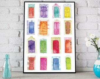 Watercolour Doors Poster, Colourful Door Print, Doors of the world Print, Architecture Art, Watercolor Door Poster, Housewarming Gift