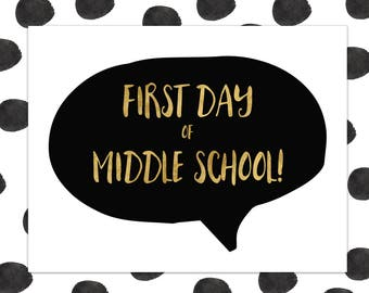 First Day of Middle School Sign - First Day of School Sign - 1st Day of Middle School - Back to School - INSTANT DOWNLOAD