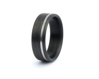 Wide Carbon Fiber Ring With Titanium Inlay. Wedding And Engagement Ring. For Men And Women. Custom Made.
