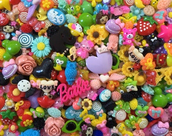 Kawaii Cabochons 100 pcs  (Cute, Colorful, Random, Crafts) Lot