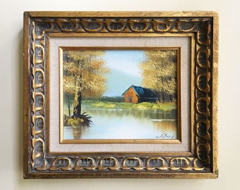 Vintage Painting Wall Decor Landscape Painting Decorative Frames Wood Frame Landscape Art Oil Painting Landscape Rustic Decor Cabin Decor
