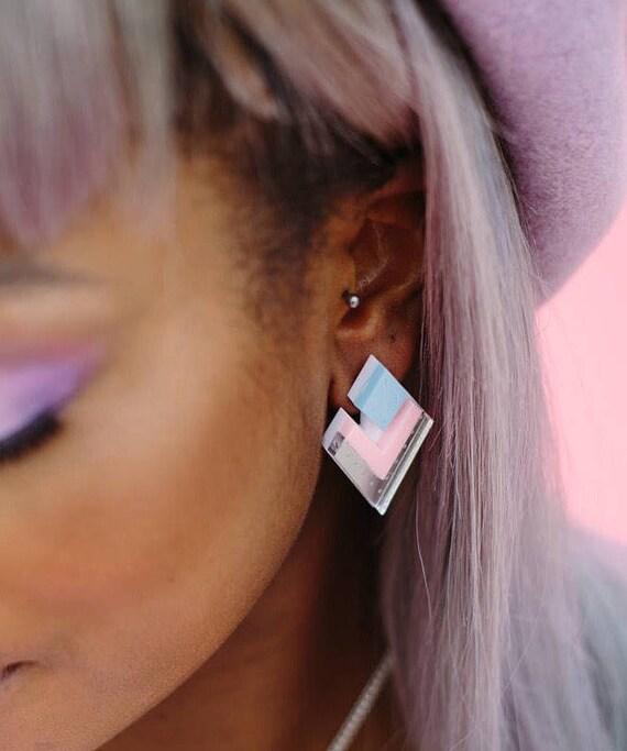 Egyptian Diamond Acrylic Earrings