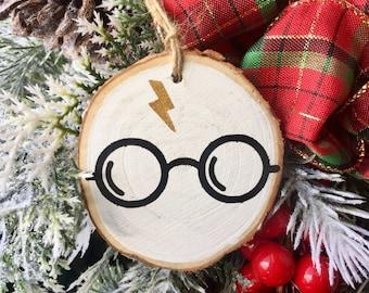Harry Potter Ornament, Harry Potter Christmas Ornament, Rustic Wood Slice Ornament, Harry Potter Wood Slice Ornament