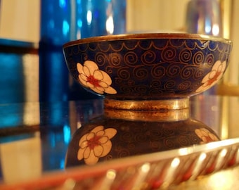Tiny Vintage Brass And Cloissone Enamel Blue Bowl with Flowers and Gold Design