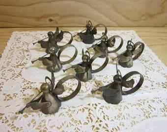 Set of 8 Vintage Angel Silver Plate Napkin Rings