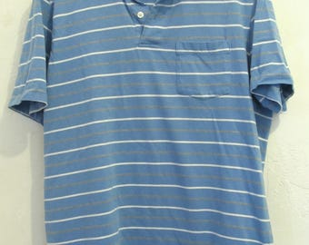 A Men's Vintage 80's,Striped Blue Short Sleeve indie mod era Polo Shirt With Pocket.L