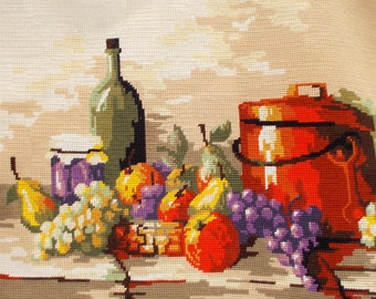 French Needlepoint Tapestry,  Completed Hand Sewn \\  Kitchen Still Life, Fruit Copper Pot  //  bags, cushions etc.   (6120s)