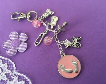 Baby Changing Bag Charm, Baby Shower Gift, New Baby Gift, Baby Themed Bag Charm