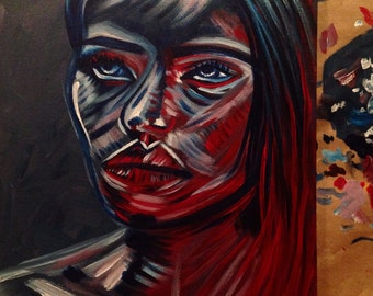 Blue and Red Girl Acrylic Painting