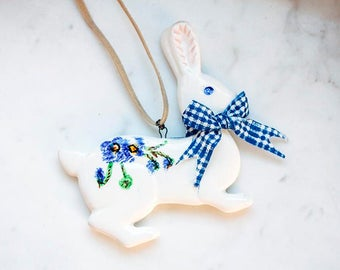 SALE - Porcelain rabbit necklace #1