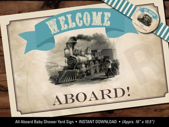 Discover Credit Card Sign In >> Train Baby Shower Yard Sign All Aboard the Baby Express Yard