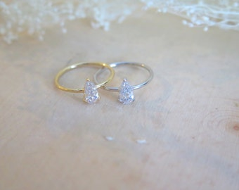 Pear shaped cubic zirconia ring, simple dainty solitaire ring, fake engagement ring, stacking ring