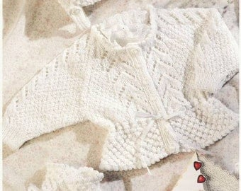 Instant Download PDF Knitting Pattern for Patons Baby Cardigan, bonnet and booties DK yarn instant download knitting pattern